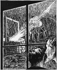 An illustration that accompanied Lovecraft's 'The Colour Out of Space' when it appeared in Amazing Stories, September 1927. Lovecraft wrote: 'And in a fearsome instant of deeper darkness the watchers saw wriggling at that treetop height a thousand tiny points… .'