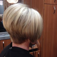 Love this A-line bob hairstyle on my client. It is a very classy look and it looks great on women of any age. Short Stacked Bob Haircuts, Stacked Hairstyles, Classy Hairstyles, Short Hairstyles For Women, Hairstyles Haircuts, Pretty Hairstyles, Short Hair Cuts, Short Hair Styles, Beauty Tips For Hair