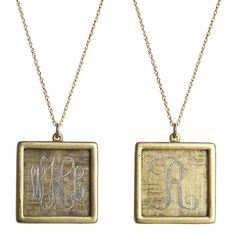 Goldenthread Antiqued Square Initial Necklace: Sydney Buchanan - Inspirational and Fine Jewelry