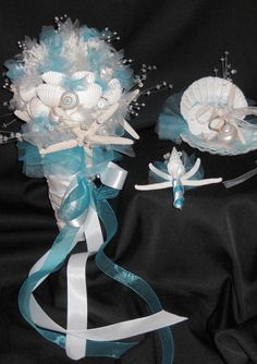 a blue and white wedding bouquet made of seashells, beads and farbic flowers plus ribbons - Weddingomania Tropical Wedding Bouquets, White Wedding Bouquets, Wedding Flowers, Perfect Wedding, Dream Wedding, Wedding Day, Wedding Things, Wedding Reception, Wedding Stuff