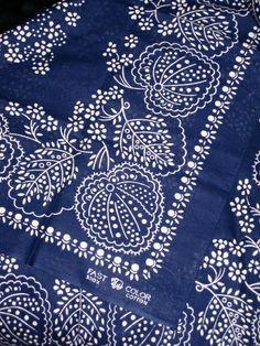 Vintage Dark Blue Cotton Bandana By Fast Color