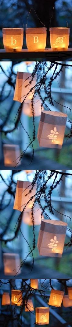 DIY- Paper bag lanterns with Candle Impressions tea lights! This would be perfect for an outdoor or country-chic wedding (Diy Paper Design) Decor Crafts, Diy And Crafts, Paper Crafts, Home Decor, Do It Yourself Projects, Cool Diy Projects, Paper Bag Lanterns, Lanterns Decor, Diy Paper Bag