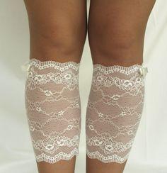 Lace Boot Cuff Socks Cream lace