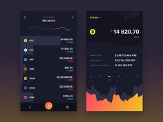 Midnite - Currencies List + Detail view designed by Dawid Młynarz. Connect with them on Dribbble; the global community for designers and creative professionals. Mobile App Ui, Mobile App Design, Screen Design, Ui Design, Layout, Finance, Design Inspiration, Screens, Creative