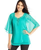 Style&co. Studded Flutter-Sleeve Top