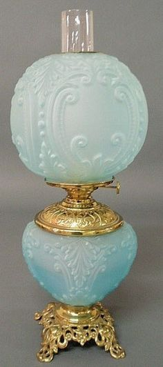 Unattributed Parlor lamp, blue glass Gone-with-the-Wind, brass burner signed Climax. Made in the USA, Patent January 21, 1880