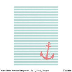 #Mint #Green #Nautical #Stripes #Coral #Anchor #Pattern #Fleece #Blanket