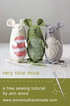 sewing toys very nice mice : pattern and instructions (and it's free!) – ann wood handmade - Make a sweet felt mouse with this free sewing pattern. Crochet Pattern Free, Sewing Patterns Free, Pattern Sewing, Felt Patterns Free, Felt Crafts Patterns, Softie Pattern, Sewing Toys, Sewing Crafts, Sewing Hacks