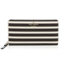 kate spade new york Fairmount Square Lacey Continental Wallet (10.880 RUB) ❤ liked on Polyvore featuring bags, wallets, kate spade wallet, striped bag, coated canvas bag, kate spade bags and square wallet