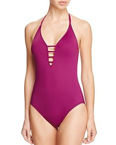 La Blanca Black Multistrap Cross Back Maillot One Piece Swimsuit