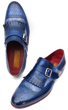 Paul Parkman Blue Single Monkstrap Kiltie Loafers