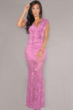 Dear Lover Vintage Orchid Lace Nude Illusion V-neck Low Back Sexy Party Gowns Dress LC6676 vestidos de renda longo festa noite