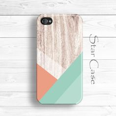 Wood iPhone 5 Case, Geometric iPhone 5s Case, Wood Print iPhone 5C Case, iPhone 4 Case, Mint iPhone 4s Case by Star Case