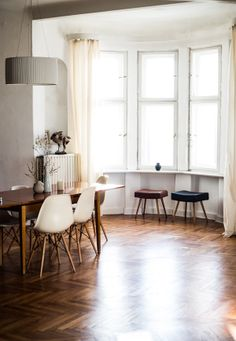 A herringbone floor will sell this house! Tres Parisienne! Can tommy lay a floor in this pattern? If so it allows you to buy very cheap (short & narrow) lumber and its very forgiving of irregularities if you buy 'mill run'