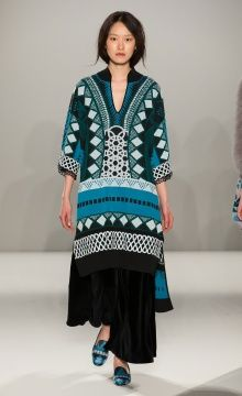 Temperley London Winter '15: Gayla Kaftan, Tuva Velvet Culottes, Costura Print Slipper