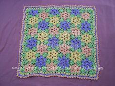 Crochet Bebé flor patrón de manta con Unión por ColorfulLullabies