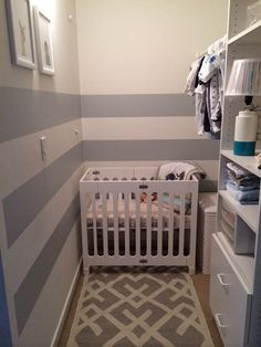 Need to turn a small space into an important area? Our friend Ann used stone easy stripes (the adhesive alternative to painting wall stripes) to turn her CLOSET into a nursery. How clever!
