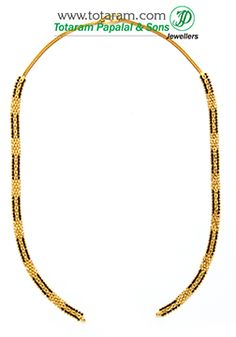 22K Gold Black Beads Chain in Length 170 inches Wedding Jewellery