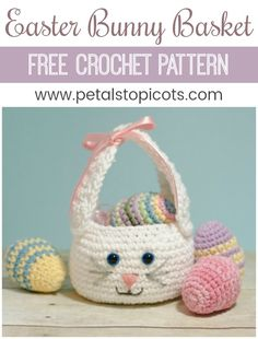 A darling little bunny basket to fill with Easter treats! This Easter bunny basket crochet pattern is quick and simple to work up and features long bunny ears that double as a handle. Pair it with some crocheted Easter eggs for a pretty holiday display! You can find my free Easter egg pattern here. #petalstopicots