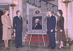 Mohammad Reza Shah's gift to President Jimmy Carter: A portrait of George Washington surrounded with Persian designs (or is it a carpet?).