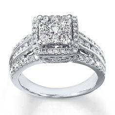 Diamond Engagement Ring 1 1/2 cts tw Round-cut 14K White Gold