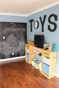 toy rooms Pin now, read later. Come see an inspired DIY playroom renovation! Designer Trapped in a Lawyers Body: The Playroom Reveal. Playroom Organization, Playroom Decor, Organized Playroom, Playroom Signs, Boys Playroom Ideas, Modern Playroom, Blue Playroom, Playroom Paint Colors, Boy Decor