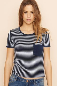Striped Ringer Tee. Basic Style, My Style, Garage Clothing, Ringer Tee, Cute Shirts, Casual Chic, Casual Looks, Fitness Models, Cute Outfits