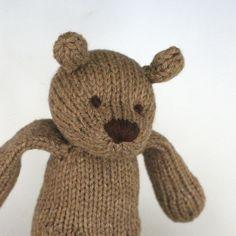 "Rye Bear - Hand Knit Organic Cotton Eco Friendly Stuffed Animal - Toy Teddy, 10"" tall. $72.00, via Etsy."