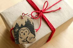 Hand stamped Owl Christmas Tags by 100owls