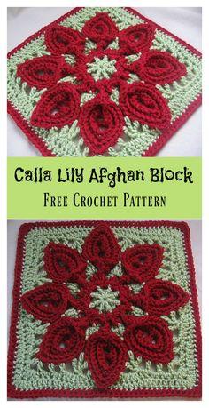 Calla Lily Flower Afghan Block Free Crochet Pattern