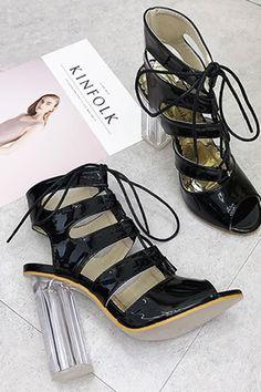 f862b41ba8d6e Women Black Leather Cutout Lace Up Peep Toe Chunky Lucite Heel Sandals - 5