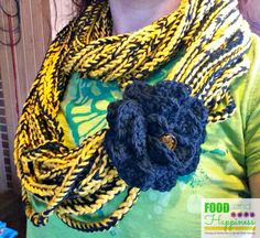 Crocheted Chain Scarf. Can be done in any colors, looks great done in school or team colors. #FoodandHappiness