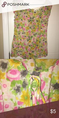 Cato blouse sz large lightweight semi sheer Cato blouse sz large lightweight semi sheer. Pink, lime green, yellow, white, purple. Light piling under the arms. Cato Tops