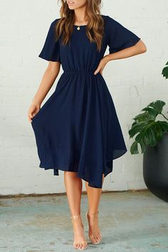 Orsle Pop Round Neck Flared Sleeves Navy Dress Jane Ole dress for wedding Simple and stylish design is the most obsessed, this one you can not miss Details: Material: Blending Style: Daily Sleeve Style: Flare Sleeve Sleeve Length: Short Simple Dress Casual, Classy Dress, Simple Dresses, Elegant Dresses, Cute Dresses, Sexy Dresses, Prom Dresses, Tight Dresses, Dance Dresses