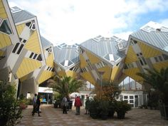 Cube Houses located on Overblaak Street in Rotterdam in The Netherlands