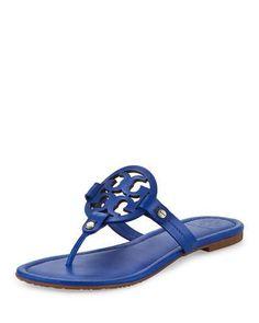 X361W Tory Burch Miller Leather Logo Sandal, Blue Dahlia
