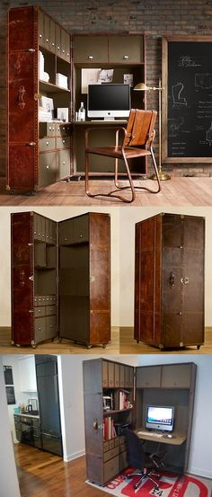However, it would be a PITA to move when changing residences. Transformer furniture: Steamer trunk / home office Space Saving Furniture, Furniture For Small Spaces, Cool Furniture, Furniture Design, Furniture Buyers, Furniture Removal, Repurposed Furniture, Small Rooms, Casa Loft