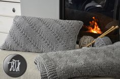 Handmade knitted pillow gray by HolaHandmade on Etsy