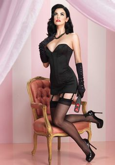 This stunning Sweetheart Corset Lingerie Mini Dress features luscious black satin, sturdy support boning, and attached garter straps for yo. Lingerie Glamour, Retro Lingerie, Lingerie Dress, Sexy Lingerie, Beautiful Lingerie, Black Corset, Black Satin, Black Garter, Leather Corset