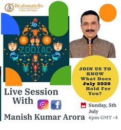 🔴 LIVE SESSION: Manish Kumar Arora Sunday - 6:00 PM at Instagram: @brahmatells 🔯  Find out Your Horoscope for July.  #LiveWithBrahmatells #LiveOnInstagram #ChatWithAstrologer #LIVE #astrology #success #brahmatells #aRayOfHope #LIVE #MonthlyHoroscope Monthly Horoscope, Your Horoscope, Monthly Forecast, Manish, Astrology, Hold On, Sunday, Success, Photo And Video
