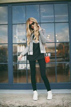 Grey Sweater With Black Tights and White Sneakers via barefootblonde.com