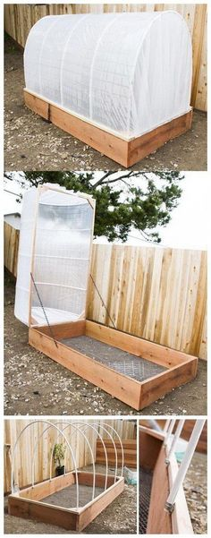 16 Awesome DIY Greenhouse Projects with Tutorials - For Creative Juice DIY Covered Greenhouse Garden Bed. Protect your plants from chilly fog, bugs and harsh winds with this removable covered greenhouse garden bed! It is really an easy DIY project! Diy Garden Bed, Diy Garden Projects, Easy Garden, Garden Tools, Big Garden, Diy Greenhouse Plans, Cheap Greenhouse, Greenhouse Gardening, Greenhouse Film
