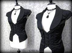 Black Striped Panel Waistcoat 12 Steampunk Victorian Elegant Corporate Goth