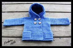 CROCHET PATTERN For Baby Boy or Girls Hooded Sweater Coat with Pockets. Pattern number 016. Instant Download via Etsy
