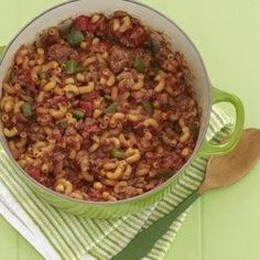 Goulash Supreme Recipe and Video - Macaroni is cooked in a spicy tomato sauce flavored with onions, garlic, paprika and chili powder. Add cooked ground beef to make a hearty, satisfying meal. Casserole Recipes, Pasta Recipes, Dinner Recipes, Dinner Ideas, Goulash Recipes, Beef Recipes, Beef Goulash, Recipies, Gourmet Recipes