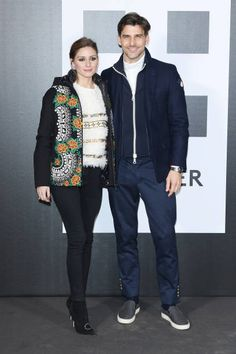 Olivia Palermo and Johannes Huebl attend Moncler Genius during Milan Fashion Week on February 20 2018 in Milan Italy