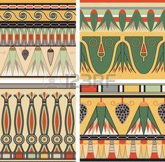 Conjunto de la antigua adorno egipcio, vector, seamless Foto de archivo