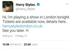 Harry on twitter. May 13th.