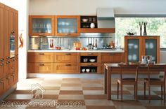 Kitchen Design By GED Cucine ; The Combine of Traditional Design And Modern Design in Italian-Style : wood kitchen designed by GED Cucine th. Installing Kitchen Cabinets, Unfinished Kitchen Cabinets, Glass Kitchen Cabinets, Kitchen Cabinet Design, Kitchen Wood, Walnut Kitchen, Tidy Kitchen, Cabinet Space, Kitchen Corner