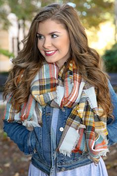 Mountain View Scarf-Harvest - New Today | The Red Dress Boutique  Blanket scarf!